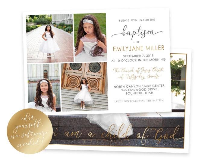 LDS Baptism Invitation | LDS Baptism Invitation Girl | Baptism Invitation | LDS Baptism | Baptism Invitations Girl | Corjl