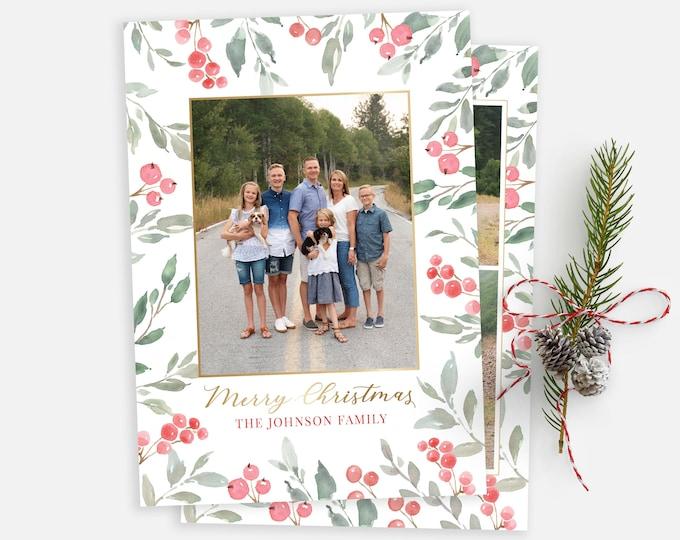 Christmas Card Template - Floral Christmas Card Template - Photo Card Template - Holly Christmas Card - Editable Christmas Card