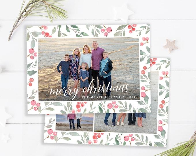 Christmas Card Template - Holiday Card - Merry Christmas - Photo Card Template - Floral Holly Christmas Card - Editable Christmas Card