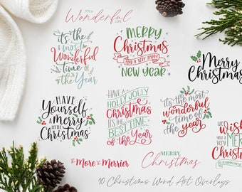 Christmas Overlays - Holiday Word Art - Overlays for Photographers - Christmas Word Art - Gold Overlays - Christmas Printable Art