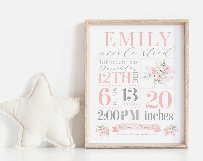 Girl Baby Stats Sign | Nursery Stats Wall Art | Birth Announcement Print | Nursery Decor | Newborn Printable Personalized Baby Gift | Corjl