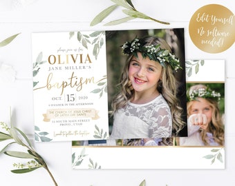 LDS Baptism Invitation Template - Girl Floral Baptism Invitation - Printable Invitation - The Church of Jesus Christ - Corjl - DIY Template