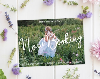 Now Booking Marketing Template - Digital Design - Photography Marketing Ad - Advertisement Template - Now Booking - Word Art Overlay