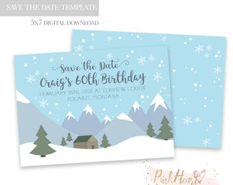 Mountain Save the Date Template - Save the Date Template - Snowy Mountains Template - Save the Date Template for Photoshop