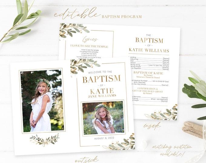 LDS Baptism Program - Baptism Program LDS Girl - Editable Baptism - Gold Program Instant Download - Baptism Program Template - Corjl