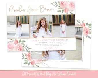 LDS Baptism Invitation Girl | Floral Baptism Invitation | Baptism Invitation Digital | Baptism Invitation | LDS Baptism Announcement | Corjl