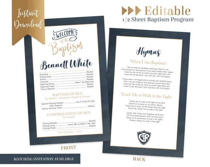 Baptism Program LDS | Baptism Program Boy | LDS Baptism Program | Baptism Program Template | LDS Baptism | Boy Baptism Program | Corjl