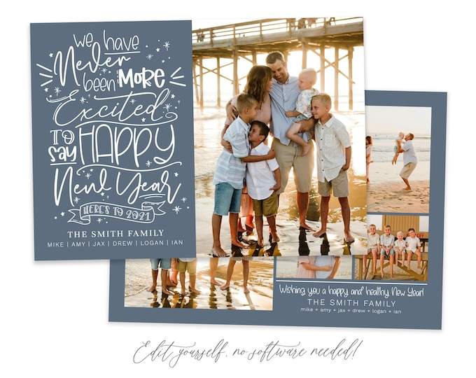 2021 Funny New Year's Card Template | Covid Card | Year In Review | Cheers to 2021 | New Year Photo Card | Holiday New Years Card  | Corjl