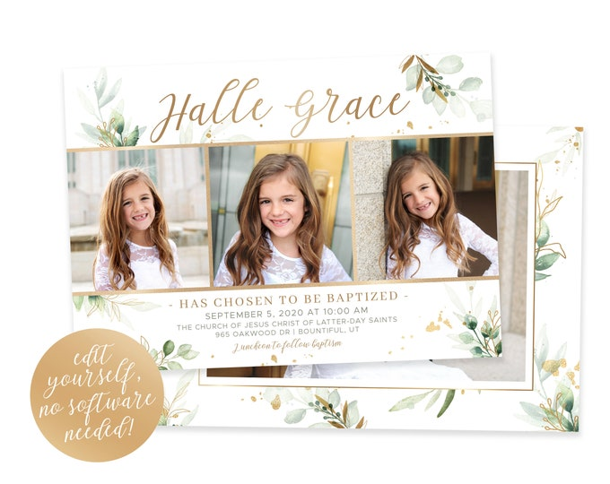 LDS Baptism Invitation | Baptism Invitation Girl | Floral Baptism Invitation | LDS Baptism | Baptism Invitations Girl | Corjl
