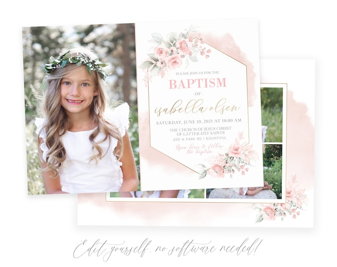 LDS Baptism Invitation Girl | Floral Baptism Invitation | Baptism Invite | LDS Baptism Announcement | Baptism Invitations Girl | Corjl