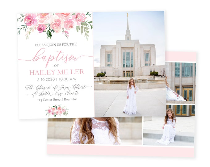 Floral LDS Baptism Invitation Girl | Baptism Invitation | LDS Baptism Invitation Girl | Baptism Invitations | Floral Baptism | LDS Baptism