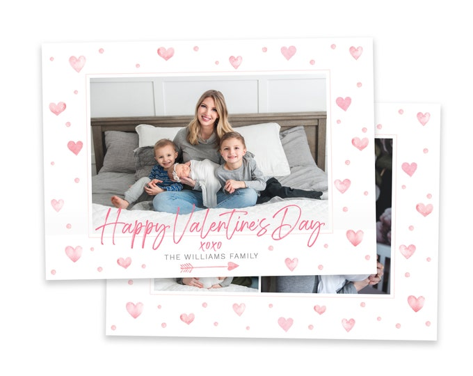 Valentine's Day Card Template | Valentine's Day Photo Card | Valentine's Day Template for Photoshop | Photographer Template Instant Download