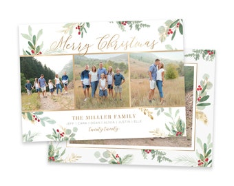Christmas Card Template | Christmas Cards Template 5x7 | Photo Christmas Card | Editable Christmas Card | Holiday Card Templates | Photoshop