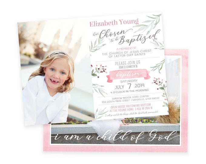 LDS Baptism Invitation - Baptism Invitation - Girl Baptism Invitation - Floral Baptism Invitation - Photographer Template