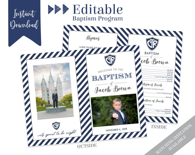 Baptism Program Boy | LDS Baptism Program | Editable PDF & Photoshop |  Boy Program Instant Download | Boy Baptism Program Template | Photo