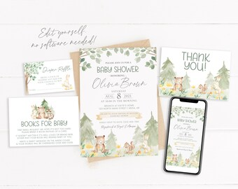 Woodland Baby Shower Invitation | Editable Baby Shower Invite | Woodland Animals Baby Shower | Gender Neutral Baby Shower | Corjl