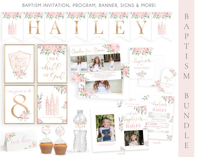 LDS Baptism Kit | LDS Baptism Invitation Girl | Baptism Girl | Editable Baptism Program | Baptism Template | LDS Baptism Printable | Corjl
