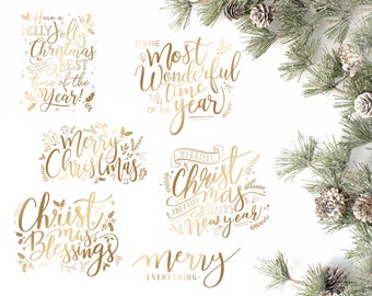 Gold Christmas Overlays - Holiday Word Art - Overlays for Photographers - Christmas Word Art - Gold Overlays