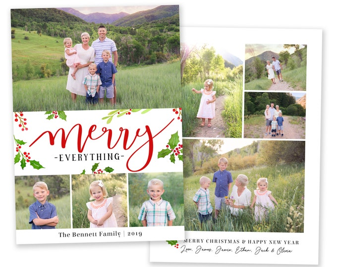 Christmas Card Template - Holiday Card Template - Merry Everything - Photo Card Template - Holly Christmas Card - Editable Christmas Card