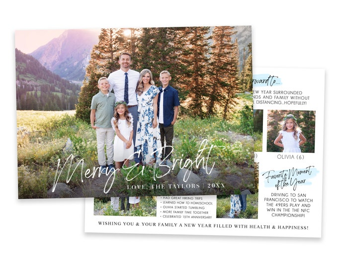 Merry & Bright Year In Review Christmas Card Template | Photo Christmas Cards | Christmas Card 5x7 | Holiday Card Templates | Photoshop