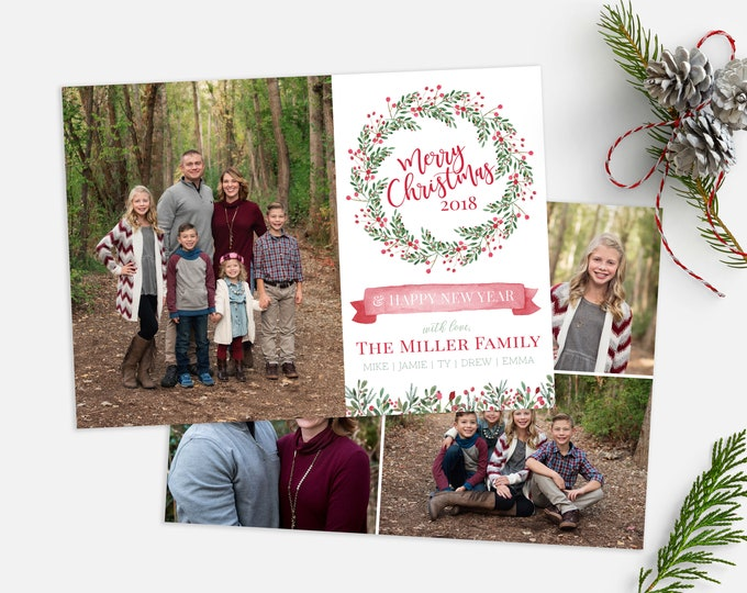 Christmas Card Template - Floral Wreath Watercolor Christmas - Christmas Template for Photoshop - Photographer Template - Digital Design
