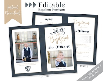 Boy Baptism Program, LDS Baptism Program, Editable PDF & Photoshop , Boy Program Instant Download , Photo, Boy Baptism Program Template
