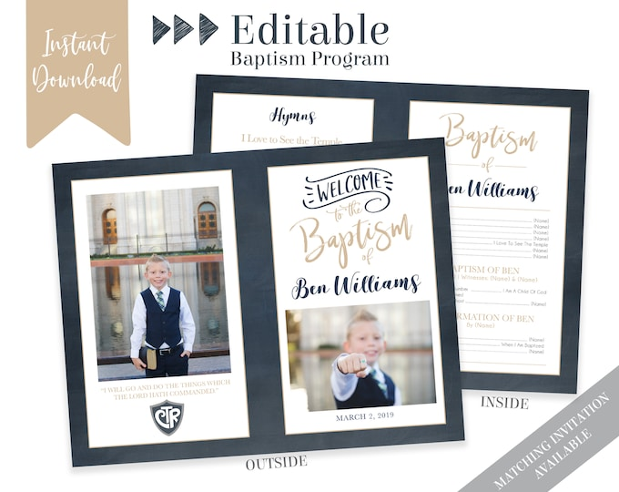 Boy Baptism Program - LDS Baptism Program - Editable PDF & Photoshop - Boy Program Instant Download - Photo - Boy Baptism Program Template