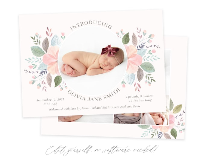 Baby Birth Announcement Template Girl - Floral Newborn Announcement - Girl Birth Card - Photo Birth Announcement - DIY Template - Corjl