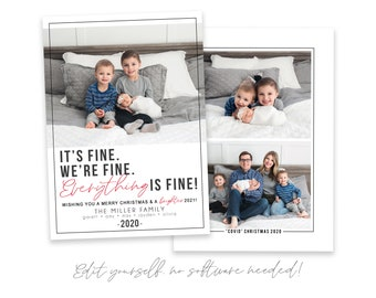 Covid Christmas Card Template | It's FINE Photo Christmas Cards | 2020 Christmas Card Template 5x7 | Holiday Card Templates | Corjl