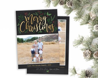 Christmas Card Template - Holiday Card Template - Merry Christmas - Photo Card Template - Holly Christmas Card - Editable Christmas Card