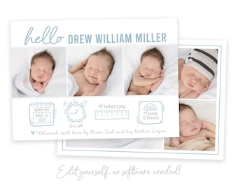 Baby Boy Birth Announcement Card - Newborn Announcement Template - Boy Stats Announcement - Photo Birth Announcement - DIY Template - Corjl