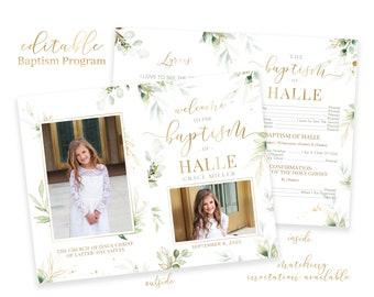 Baptism Program Girl - LDS Baptism Program - Editable Baptism Program - Floral Program Instant Download - Baptism Program Template - Corjl