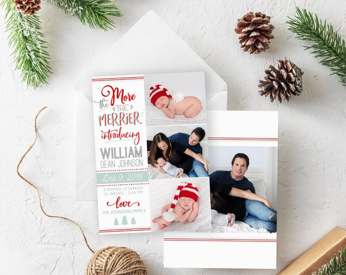 Christmas Birth Announcement Template - The More the Merrier - Christmas Template for Photoshop - Photographer Template - Digital Design