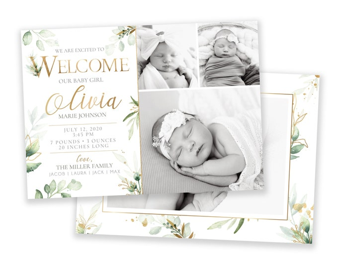 Birth Announcement | Birth Announcement Card | Digital Birth Announcement | Birth Announcement Template | Girl Birth Announcement