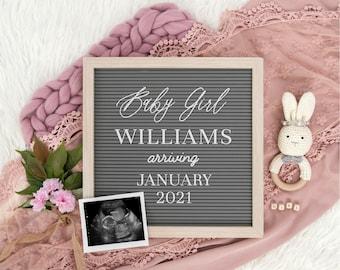 Digital Pregnancy Announcement   Girl Gender Reveal   Editable Letter Board for Social Media   Instagram Pregnancy Announcement   Corjl