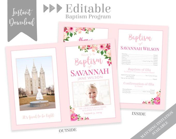 Pink Floral Baptism Program