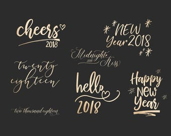 2018 New Year's Overlays - Holiday Word Art - Overlays for Photographers - New Years Word Art - Gold Overlays