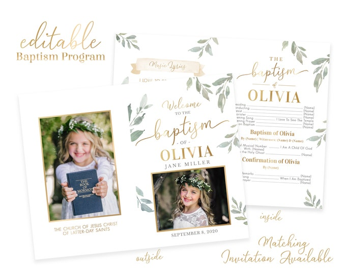 Baptism Program Girl - LDS Baptism Program -Editable Baptism Program - Floral Program Instant Download - Baptism Program Template - Corjl