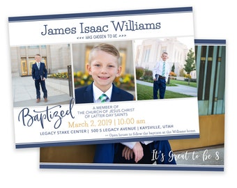 LDS Baptism Invitation - Boy Baptism Invitation - Photographer Template - It's Great to be 8 The Church of Jesus Christ of Latter-Day Saints