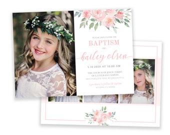 LDS Floral  Baptism Invitation Girl | Pink Baptism Invitation | LDS Baptism Invitation Girl | Baptism Invitations | LDS Girl Baptism