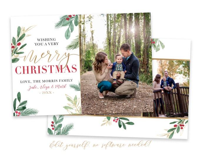 Merry Christmas Card Template | Christmas Cards Template 5x7 | Editable Photo Christmas Card | Holiday Card Templates | Corjl