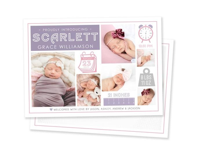Girl Birth Announcement   Birth Announcement Card   Digital Birth Announcement   Birth Announcement Template   Girl Birth Announcement