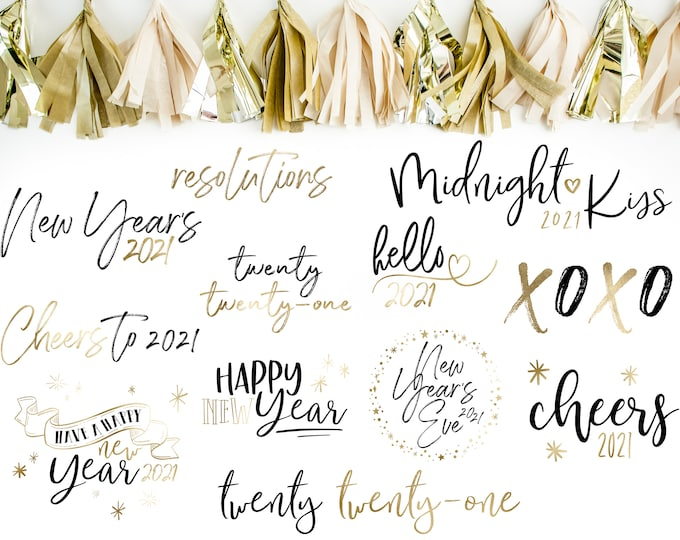 2021 New Year's Overlays - Holiday Word Art - Foil Overlays for Photographers - New Years Word Art - Gold Overlays