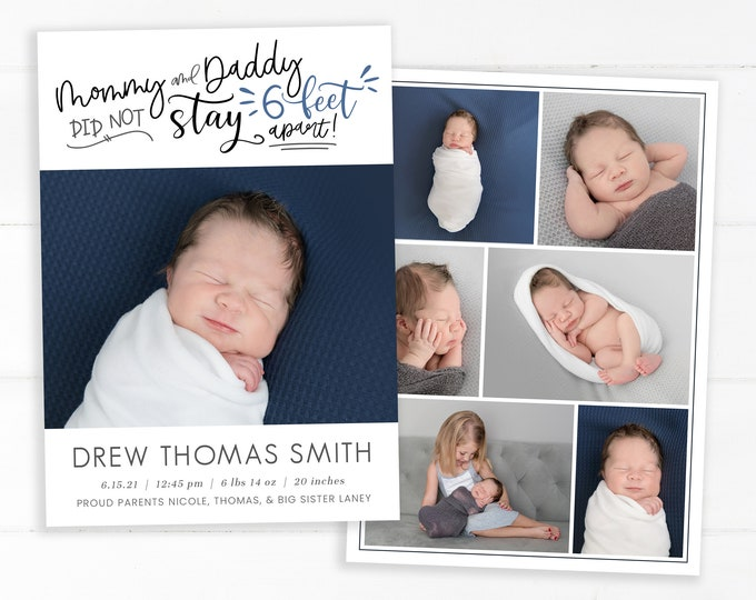 Quarantine Birth Announcement Template - Funny Newborn Announcement - Boy Covid Birth Card - Mommy and Daddy Did Not Stay 6 Feet Apart