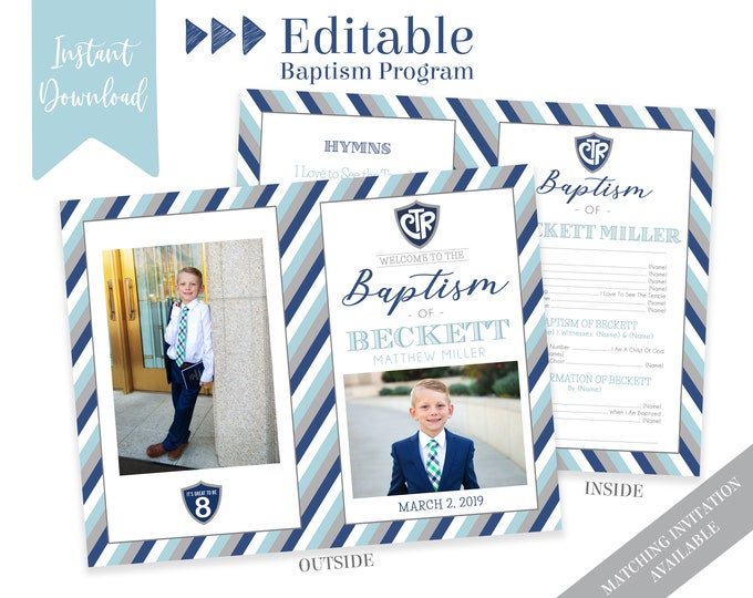 Boy Baptism Program, LDS Baptism Program, Editable PDF & Photoshop , Boy Program Instant Download , Photo, Boy Baptism Program Template