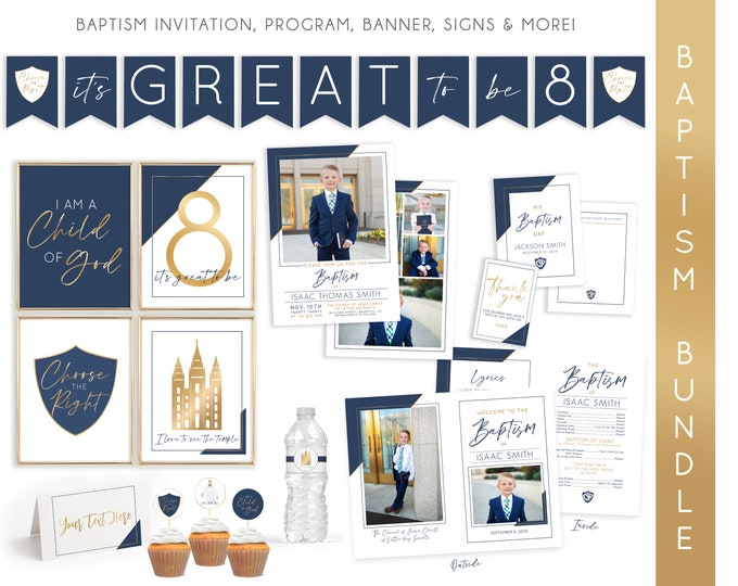 LDS Baptism Kit | LDS Baptism Invitation Boy | Baptism Boy | Editable Baptism Program | Baptism Template | LDS Baptism Printable | Corjl