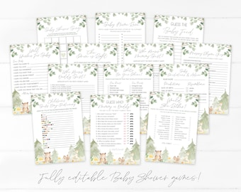 Woodland Babies Baby Shower Games | Baby Shower Games Bundle | Printable Woodland Babies Game | Instant Download | Gender Neutral | Corjl