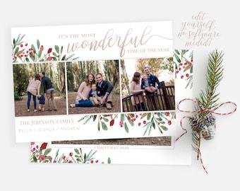 Christmas Card Template | Christmas Cards Template 5x7 | Christmas Photo Card | Editable Christmas Card | Holiday Card Template | Corjl