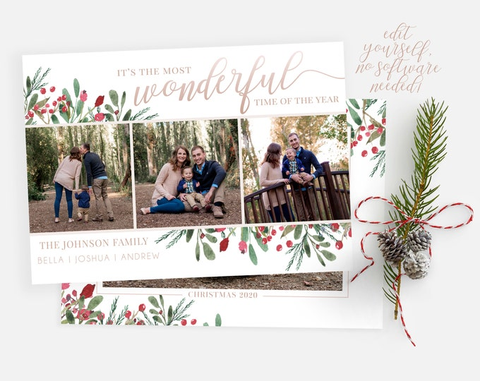 Christmas Card Template | Christmas Cards Template 5x7 | Christmas Photo Card | Editable Christmas Card | Holiday Card Template | Corjl