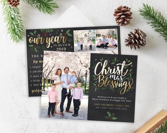Christmas Card Template - Religious Holiday Card - Christmas Blessings - Merry Christmas - Photo Card Template - Editable Christmas Card